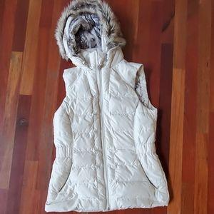 North face white hooded fur vest